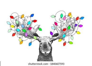 Weihnachtsmütze mit Weihnachtsleuchten, Weihnachtstierzeichnung für Einladungen oder Karte, handgezeichnete Skizze des Elchs