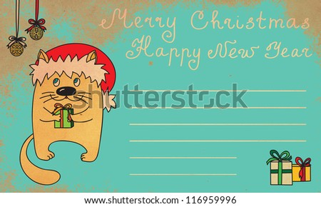 Royalty Free Stock Illustration Of Funny Christmas New Year Cat