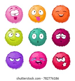 Funny colorful cartoon fluffy ball fuzzy characters set. Monsters with different emotion. Cute monster character, illustration of color fuzzy creature