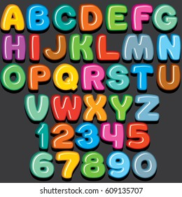 Funny Colorful Comics Kid Font. Sweet Candy or Fridge Magnet Style. 3D Letters Set For Text and Design.