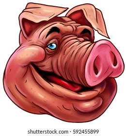 Funny comic cartoon smiling pig. color illustration