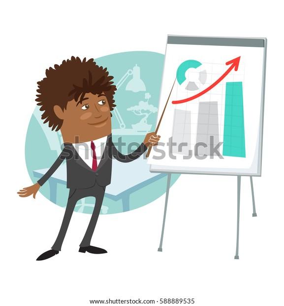 Funny Confident black business man wearing suit present development graph diagram on flip chart and smile. Flat style design set. Illustration.