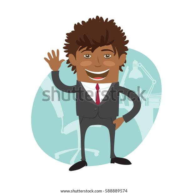 Funny Confident black business man wearing suit wave and smile. Flat style design set. Illustration.