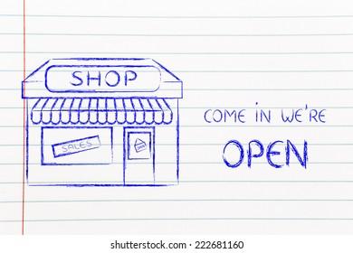 funny corner shop design with sale or marketing promotional offer