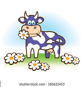 Funny cow illustration in Milka style