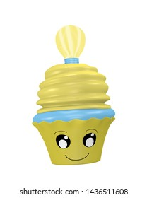 funny cupcake emoticon in kawaii style with lightbulb. 3d rendering