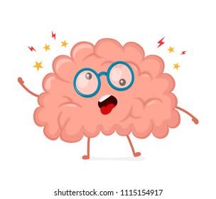 Funny cute crazy mad sick brain.  flat cartoon character illustration design. Mental,psychological problem concept