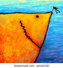 Funny cute positive orange big shark and diver meeting digital art painting
