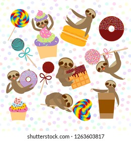 funny and cute smiling Three-toed sloth collection with pink cake pops, donut, lollipop, coffee, waffle, macaroon, sprinkles on white background.