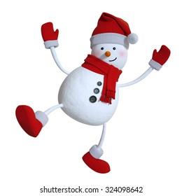 funny dancing snowman, Christmas 3d illustration