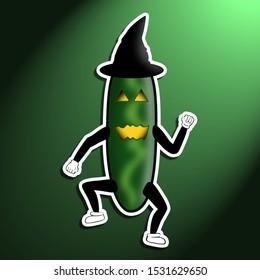 Funny devilish halloween cucumber cartoon