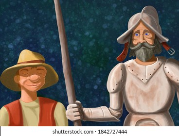 Funny digital painting based on Don Quixote and Sancho Panza characters from Miguel de Cervantes book