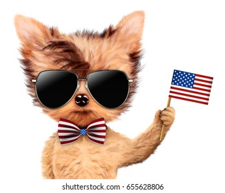 Funny dog holding USA flag, wearing sunglasses and bow-tie. Concept of 4th of July and Independence Day, Realistic 3D illustration.