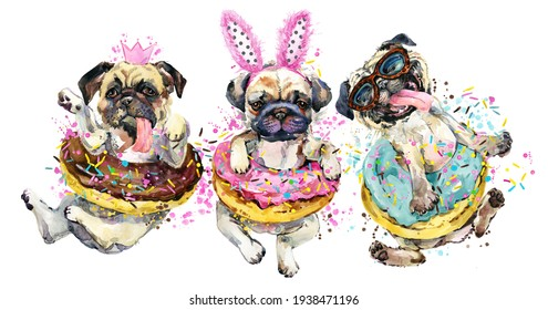 Funny dog puppies. Pug breed watercolor illustration