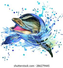 funny dolphin. watercolor illustration. marine nature. sea animal. wildlife.