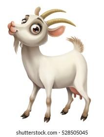 Funny domestic goat digital illustration. Cartoon style.