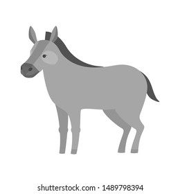 Funny donkey. Domestic animal character. Gray friendly farm mammal. Isolated flat illustration
