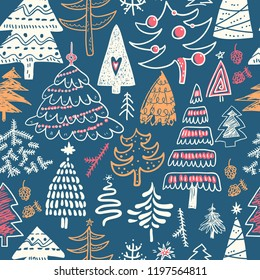 Funny doodle christmas pine trees seamless pattern. Hand kids drawn sketches. Trees in winter, textile, wrapping paper