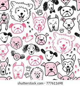 Funny doodle dog icons seamless pattern. Hand drawn pet, kid drawn design. Cute modern elegant style, different breeds