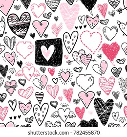 Funny doodle hearts icons seamless pattern. Hand drawn Valentines day, wedding design. Cute elegant style, modern design