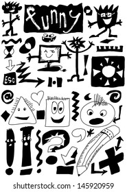 Cute Magic Doodle Vector Symbols Funny Doodles Hand Drawn