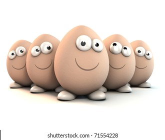 funny eggs as a cartoon 3d characters isolated over white