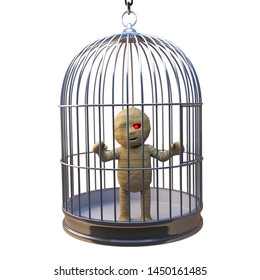 Funny Egyptian mummy monster trapped in birdcage like a canary, 3d illustration render
