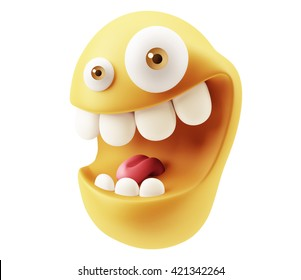 Funny Emoticon Character Face Expression. 3d Rendering.