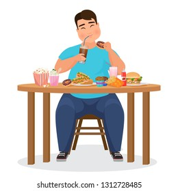 Funny fat obese man eating hamburger fast food.  Illustration.