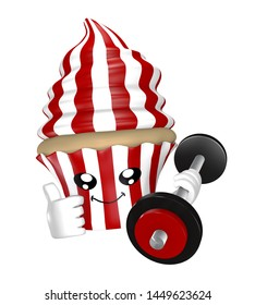 Funny fitness cupcake with dumbbell in red white stripes. 3d rendering