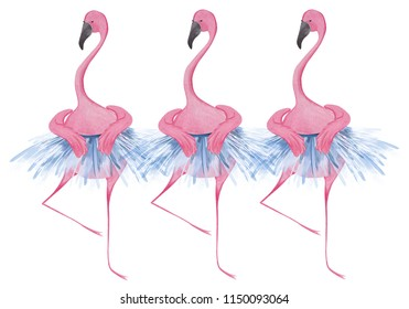 Funny flamingos ballerinas. Watercolor illustration