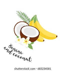 Funny fruit set. Bananas, coconuts and leaves. Set of Illustration Icons tropical fruits with leaves and flowers. Set of trendy illustrations isolated on white