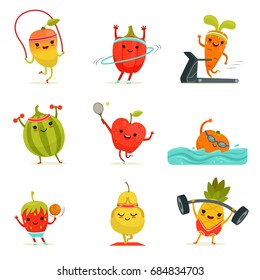 Funny fruits make fitness exercises. cartoon set with diet foods