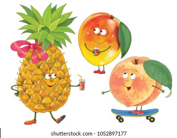 Funny fruits. Pineapple, mango, peach. Illustration for children. Coloring page. Coloring book. Cartoon characters.