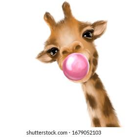 Funny giraffe blowing bubble. Hand drawn giraffe illustration