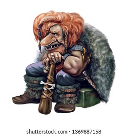 funny goblin with a cudgel, with a skull and bones, an angry giant sitting on a stone, red-haired shaggy orc in the skin, isolated character on a white background