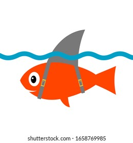 Funny Goldfish with a Shark Fin