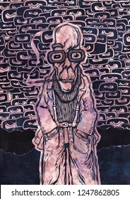 Funny Gonzo Dude And Hallucinogenic background with a lot of eyes. Raster Version Illustration