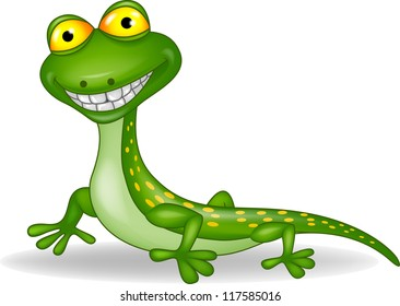 Funny green lizard cartoon
