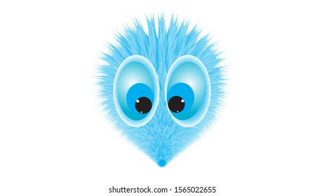 Funny hairy of blue face rat cartoon on white background.
