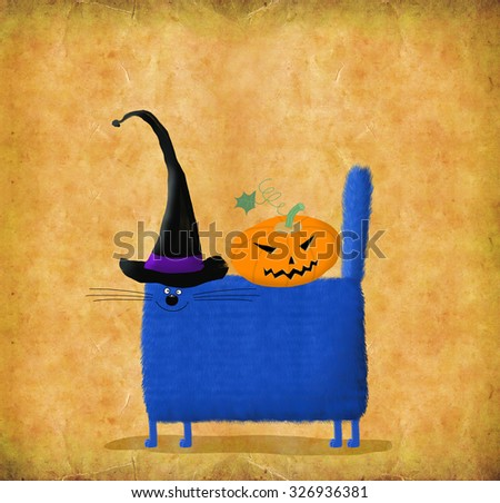 funny halloween card square blue cat in witchs hats with pumpkin head on its back