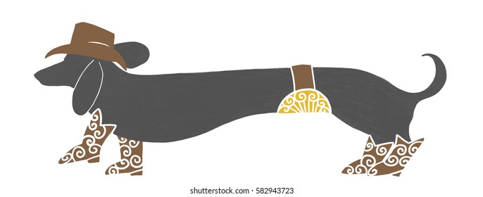 funny hand drawn cowboy cow dog, cute extra long dachshund wiener dog in black wearing cowboy hat, cowboy boots and big country western gold buckle