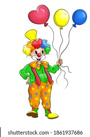 Funny and happy clown with balloons