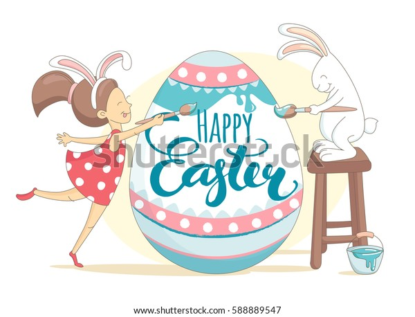 Funny Happy Easter greeting card with girls wearing rabbit ears costume and bunny painting Easter egg. Illustration flat kids style design.