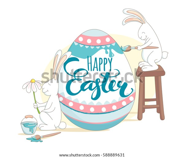 Funny Happy Easter greeting card with rabbits painting Easter egg. Illustration flat kids style design.