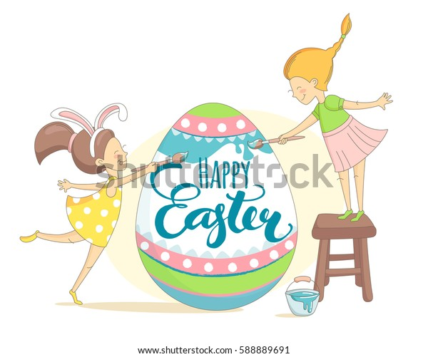 Funny Happy Easter greeting card with girls wearing rabbit ears costume and painting Easter egg. Illustration flat kids style design.