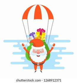 Funny happy Santa Claus character flying a parachute with a bag of gifts. Celebration of Merry Christmas and New Year. For Holiday Greeting cards, banners, tags and labels.