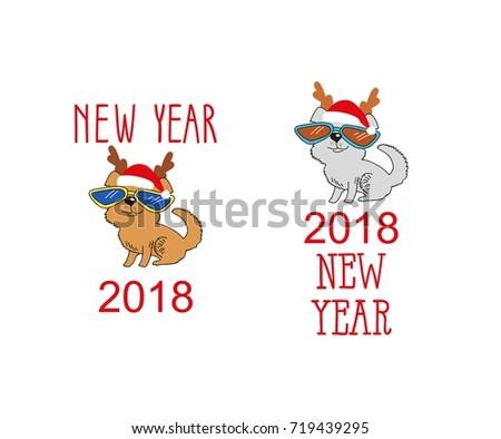 5b4ec529b5ce1 Funny holiday background. Bright Christmas card. illustration Dog in Santa  hats