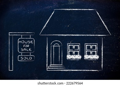 funny house sold, concept of buying or moving house