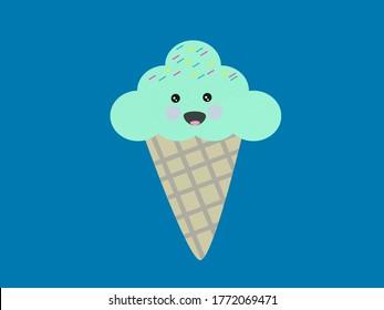 Funny Ice Cream Image Illustration Background